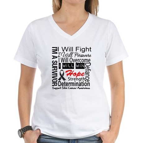 Skin Cancer Persevere Women's V-Neck T-Shirt