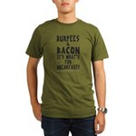 Burpees Bacon - White Organic Men's T-Shirt (dark)
