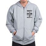 Burpees Bacon - White Zip Hoodie