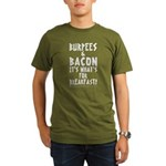 Burpees Bacon - Black Organic Men's T-Shirt (dark)
