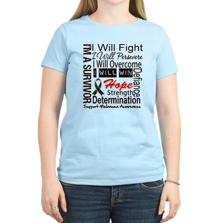 Melanoma Cancer Persevere Shirts Women's Light T-S
