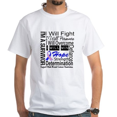 Male Breast Cancer Persevere White T-Shirt