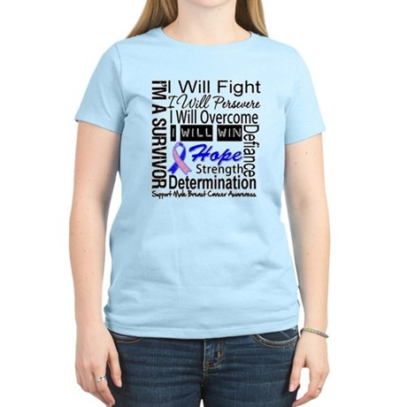 Male Breast Cancer Persevere Women's Light T-Shirt