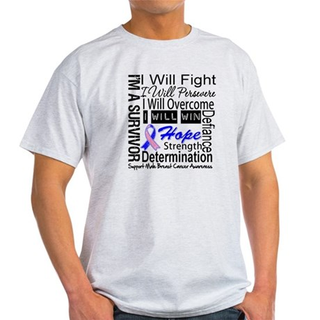 Male Breast Cancer Persevere Light T-Shirt
