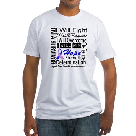 Male Breast Cancer Persevere Fitted T-Shirt