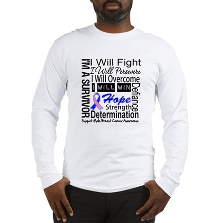 Male Breast Cancer Persevere Long Sleeve T-Shirt