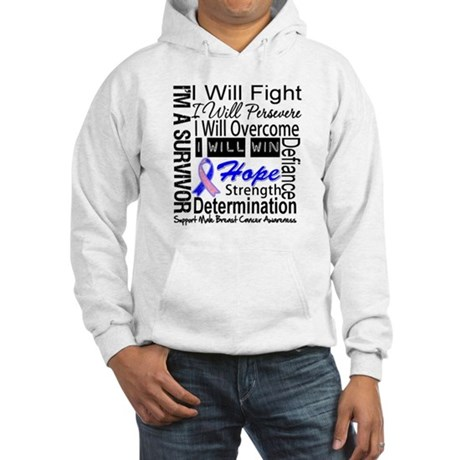Male Breast Cancer Persevere Hooded Sweatshirt