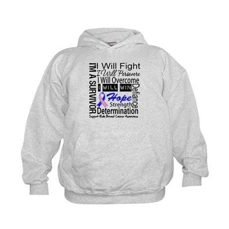 Male Breast Cancer Persevere Kids Hoodie