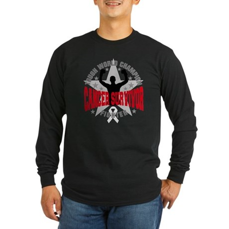 Mesothelioma Tough Survivor Long Sleeve Dark T-Shi