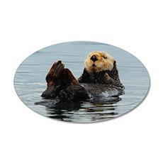 Alaskan Sea Otters 35x21 Oval Wall Decal