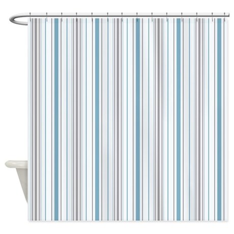 Amara Stripe Cornflower Shower Curtain By Floatinglemons