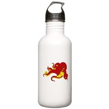 Red Octopus .png Water Bottle