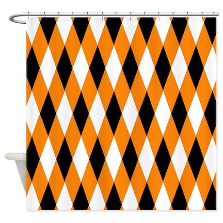 Black Orange White Shower Curtain By PrintedLittleTreasures