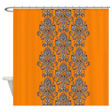 Orange Black Shower Curtain By PrintedLittleTreasures