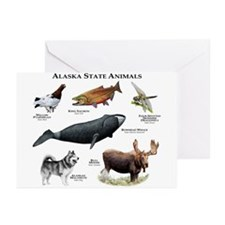 Alaska State Animals Greeting Cards (Pk of 10)