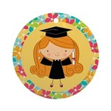 Graduate Girl Flowered Gift Ornament (Round)