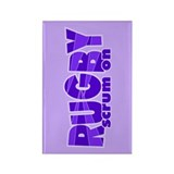 Girls Rugby Purple Rectangle Magnet