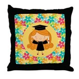 Graduate Girl Flowered Gift Throw Pillow