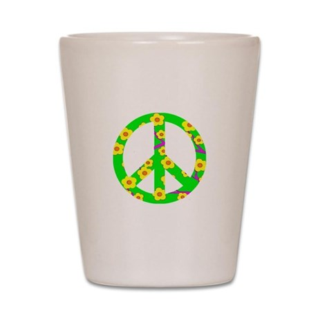 Peace Sign Yellow Cherry Blossom.png Shot Glass