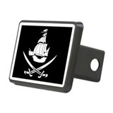 Pirate Flag w Ship And Swords Rectangular Hitch Co