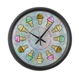 Cute Ice cream Large Wall Clock