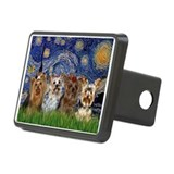 Starry Night & 4 Yorkies Rectangular Hitch Cover