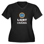LGBT for Obama Women's Plus Size V-Neck Dark T-Shi