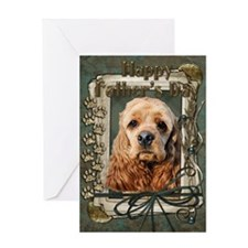 Fathers Day Stone Paws Cocker Greeting Card