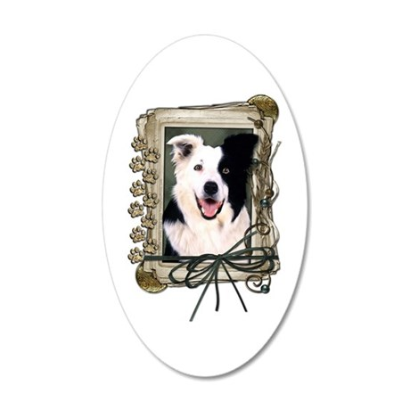 Fathers Day Stone Paws Border Collie 22x14 Oval Wa