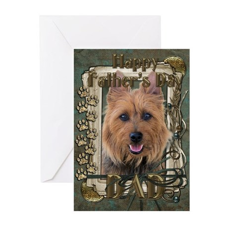 Fathers Day Stone Paws Aussie Terrier Greeting Car