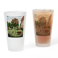 Vintage Cow Art Drinking Glass