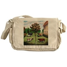 Vintage Cow Art Messenger Bag