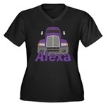 Trucker Alexa Women's Plus Size V-Neck Dark T-Shir