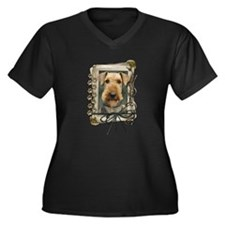 Fathers Day Stone Paws Airedale Women's Plus Size