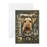 Fathers Day Stone Paws Airedale Greeting Cards (Pk