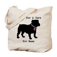 Bulldog Personalizable Bark For A Cure Tote Bag