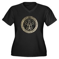 Large Tree Pentacle Stone Women's Plus Size V-Neck