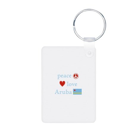 Peace, Love and Aruba Aluminum Photo Keychain