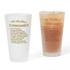 The Hillbilly 10 Commandments Drinking Glass