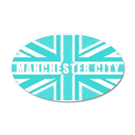 Manchester City Union Jack 22x14 Oval Wall Peel