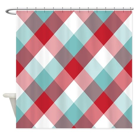 Red And Blue Diamond Plaid Shower Curtain By Expressyoursoul