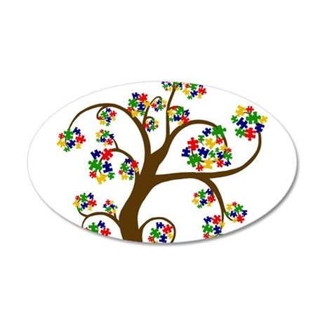Puzzled Tree of Life 38.5 x 24.5 Oval Wall Peel