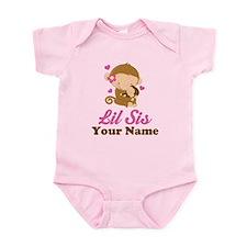 Personalized Little Sister Monkey Onesie