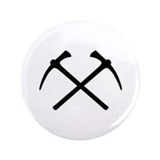 "Picks crossed pickax 3.5"" Button (100 pack)"