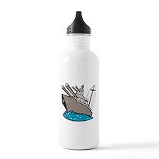 Warship Battleship Boat With Big Guns Water Bottle