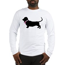 Basset Hound Breast Cancer Support Long Sleeve T-S