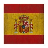 Vintage Spain Flag Tile Coaster