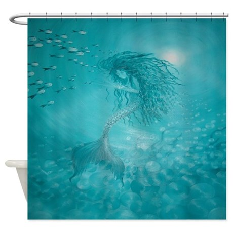 blue underwater mermaid shower curtain
