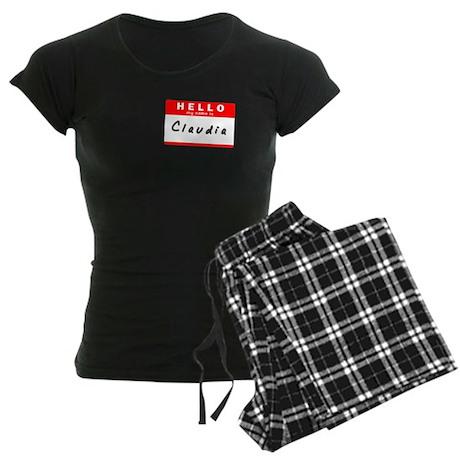 Claudia, Name Tag Sticker Women's Dark Pajamas