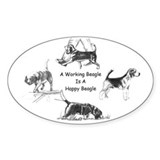 Working Beagle Oval Decal